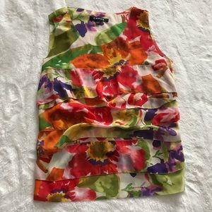 Chaus Watercolor Floral Sleeveless Top